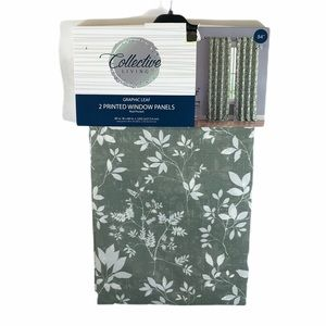 Brand New Leaf Print Sage Curtain Panels - Two